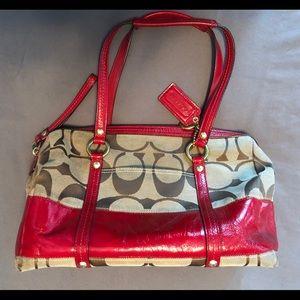 Coach Signature satchel, patent leather red trim